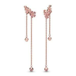 Pandora Pink Peach Blossom Flower Dangle Earrings